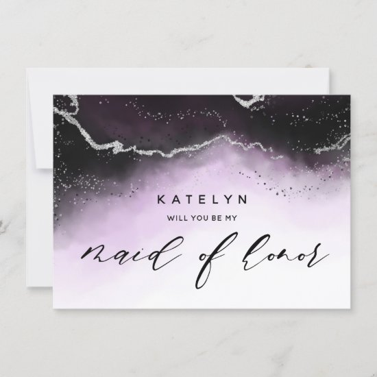 Ethereal Mist Ombre Violet Maid of Honor Proposal