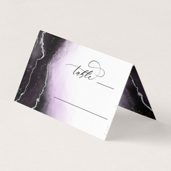 Ethereal Mist Ombre Violet Wedding Table Number Place Card