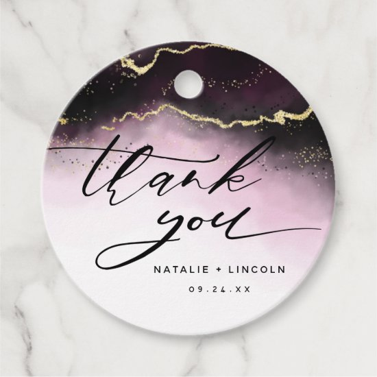 Ethereal Mist Ombre Wine Burgundy Moody Thank You Favor Tags