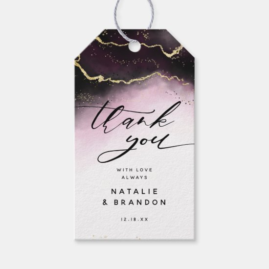 Ethereal Mist Ombre Wine Burgundy Moody Thank You Gift Tags