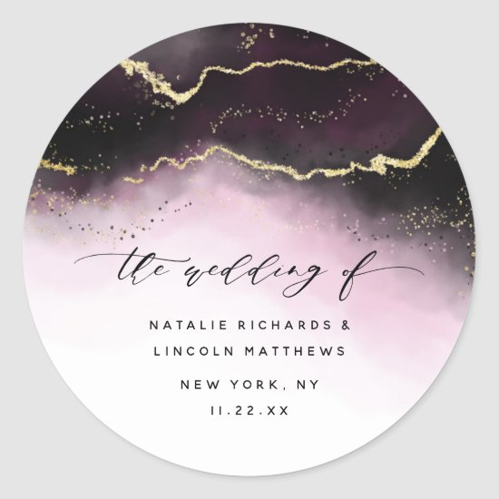 Ethereal Mist Ombre Wine Burgundy Moody Wedding Classic Round Sticker