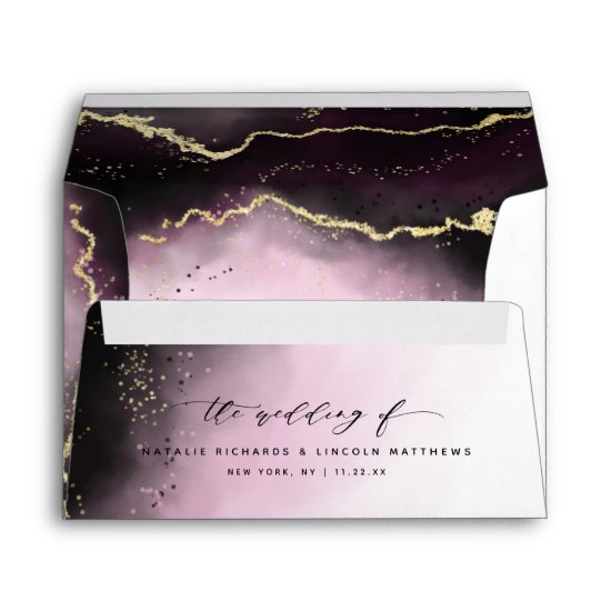 Ethereal Mist Ombre Wine Burgundy Moody Wedding Envelope