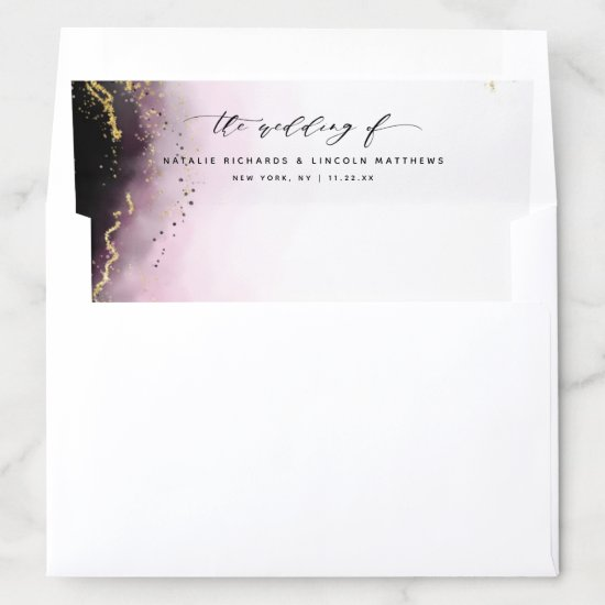Ethereal Mist Ombre Wine Burgundy Moody Wedding Envelope Liner
