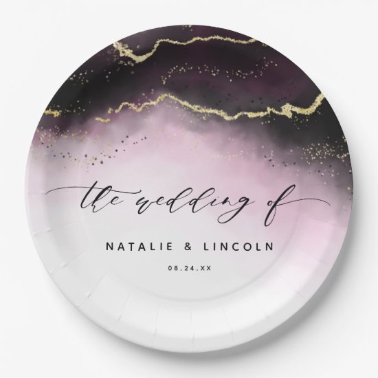 Ethereal Mist Ombre Wine Burgundy Moody Wedding Paper Plate