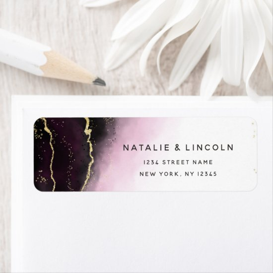 Ethereal Mist Ombre Wine Burgundy Return Address Label