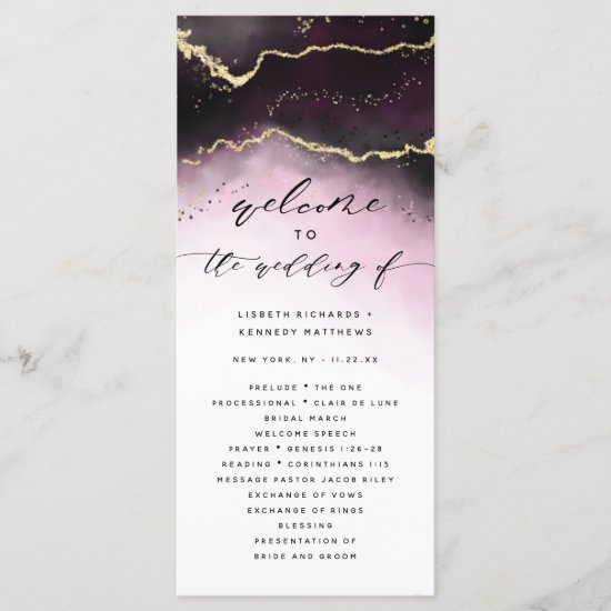 Ethereal Mist Ombre Wine Burgundy Wedding Ceremony Program
