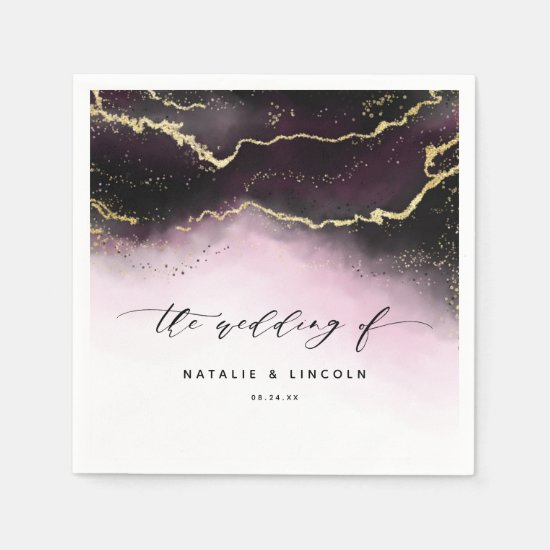 Ethereal Mist Ombre Wine Burgundy Wedding Monogram Napkin