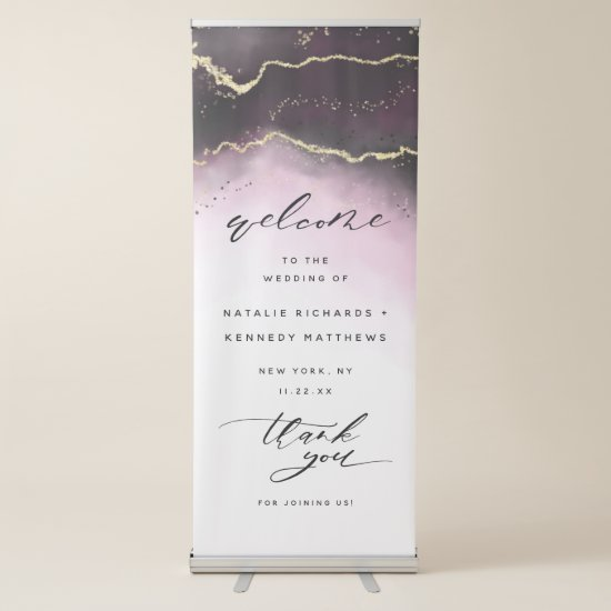 Ethereal Mist Ombre Wine Burgundy Wedding Welcome Retractable Banner