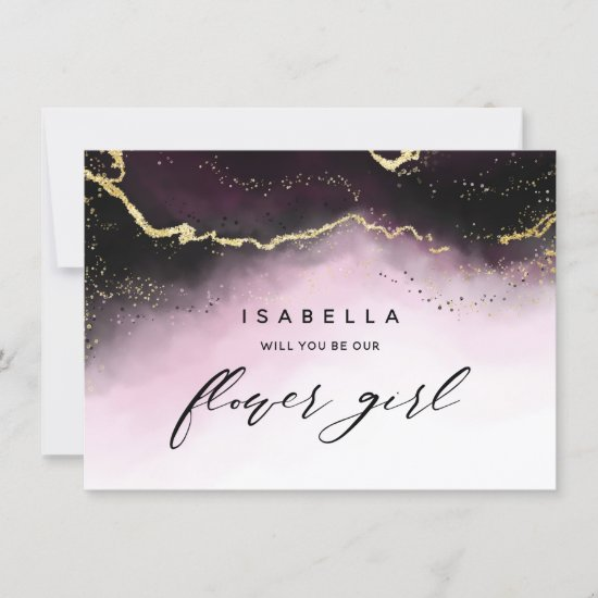 Ethereal Mist Ombre Wine Flower Girl Proposal