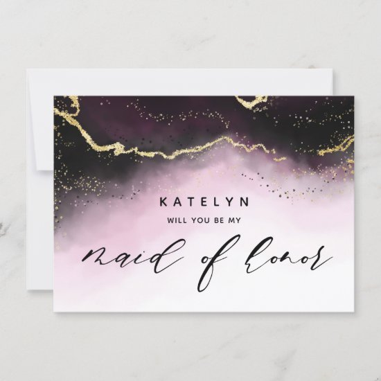Ethereal Mist Ombre Wine Maid of Honor Proposal