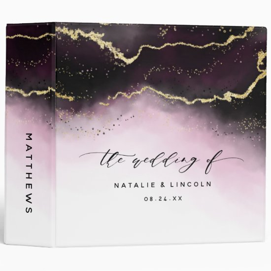 Ethereal Mist Ombre Wine Moody Wedding Photo Album 3 Ring Binder