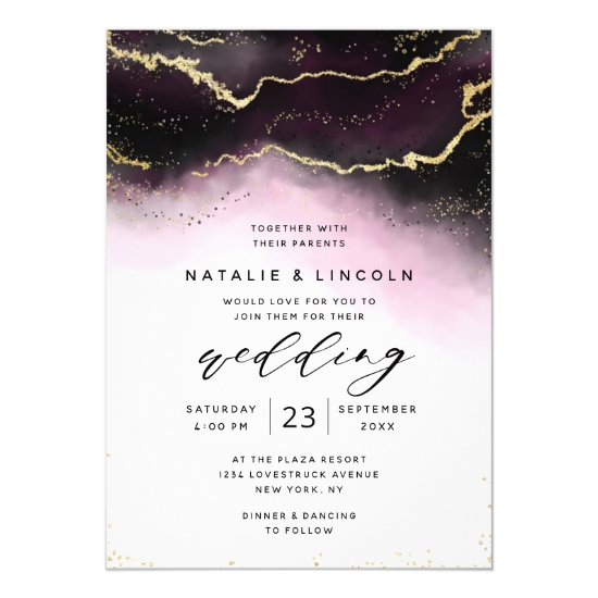 Ethereal Mist Ombre Wine Watercolor Moody Wedding Invitation