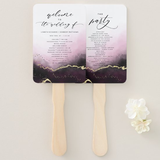 Ethereal Mist Ombre Wine Wedding Ceremony Program Hand Fan