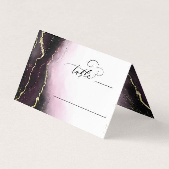 Ethereal Mist Ombre Wine Wedding Table Number Place Card
