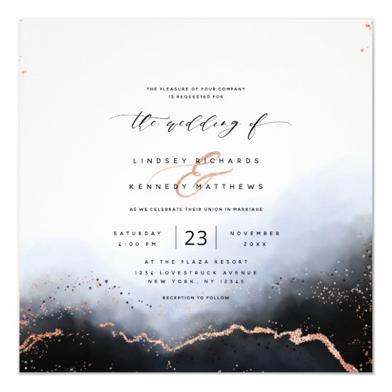 Ethereal Ombre Dusty Blue Luxury Square Wedding Invitation