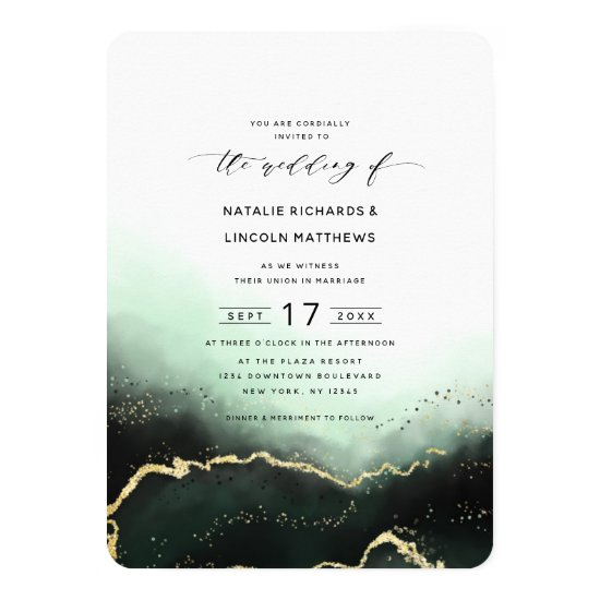 Ethereal Ombre Emerald Gold Foil Script Wedding Invitation