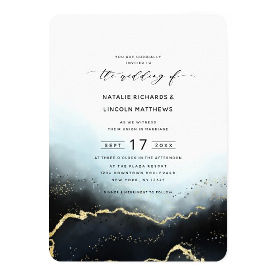 Ethereal Ombre Navy Blue Gold Foil Script Wedding Invitation