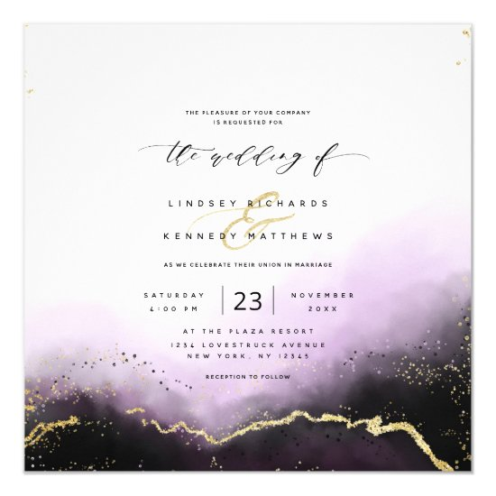 Ethereal Ombre Purple Gold Luxury Square Wedding Invitation