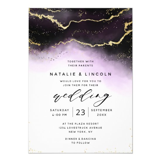 Ethereal Ombre Purple Watercolor Moody Wedding Invitation