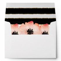 Ethereal Peach Magnolia Farm Wedding BW Stripes Envelope