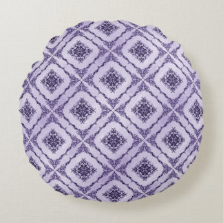 Ethereal Purple and Lavender Fractal Design Round Pillow