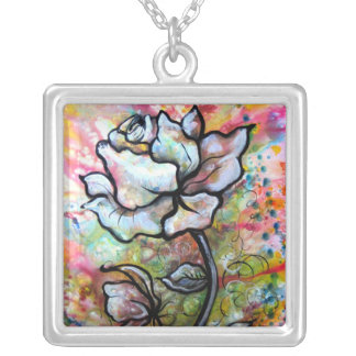 Ethereal Rose, A Floral Illustration by Shadia Necklaces
