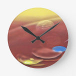 Ethereal Sci-fi Alien Planets Round Clock