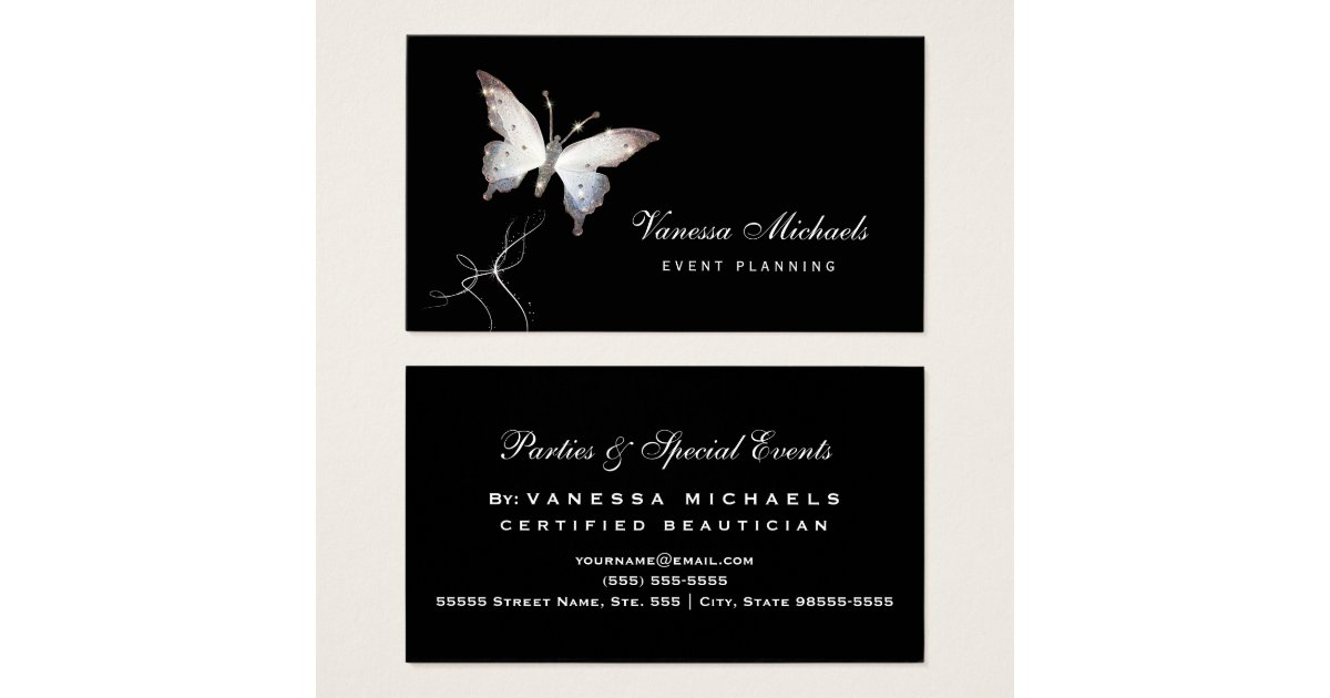 Ethereal Sparkle Butterfly Elegant Event Planner Business Card ...