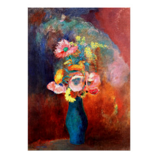 Ethereal Vase of Flowers, painting by Odilon Redon Poster