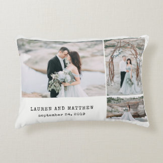 Ethereal Wedding 3 Photo Collage and Gray Stripes Decorative Pillow