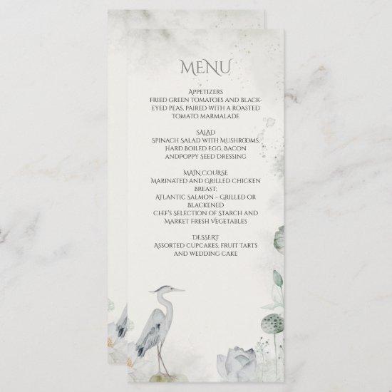 Ethereal White Floral Waterfowl Wedding Menu