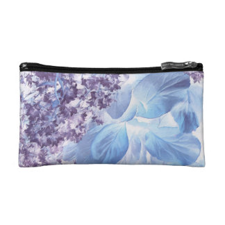 Ethereal Winter Purple and Blue Flora Makeup Bag