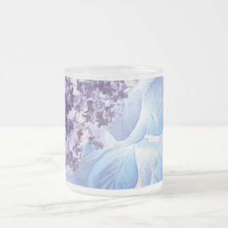 Ethereal Winter Purple and Blue Frosted Glass Coffee Mug