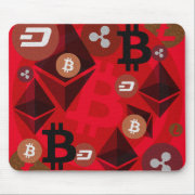 Ethereum, Bitcoin, Dash, Ripple, Litcoin Mouse Pad