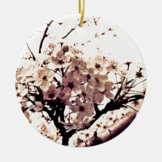 Etherial White Cherry Blossoms Christmas Ornament