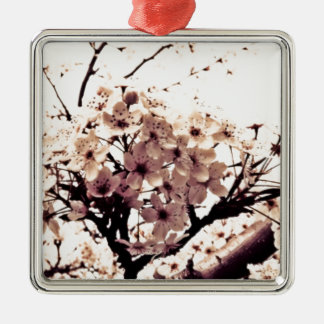 Etherial White Cherry Blossoms Ornaments
