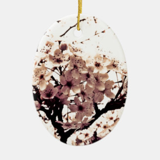 Etherial White Cherry Blossoms Christmas Ornaments