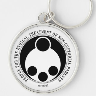 Ethical Treatment of Non-Custodial Parents Keyfob Silver-Colored Round Keychain