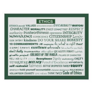 """Ethics Word Poster"" Poster"