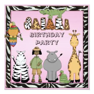 Ethinc Girl & Safari Animals Birthday Party Card