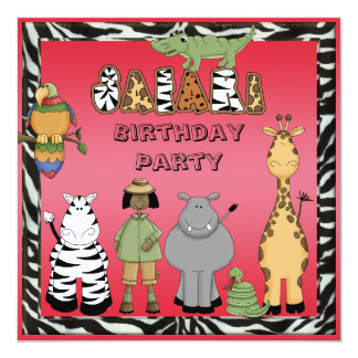 Ethinc Girl & Safari Animals Birthday Party Card