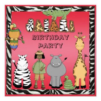 Ethinc Girl Safari Animals Birthday Party Custom Invitation