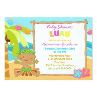 Ethinic Boys Luau Baby Shower Card
