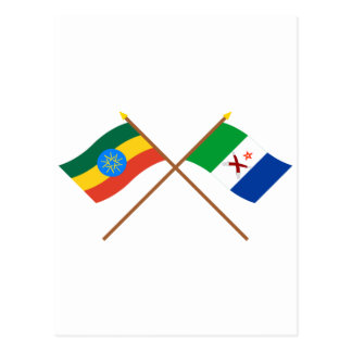 Ethiopia and Afar Crossed Flags Postcard