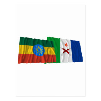 Ethiopia and Afar Waving Flags Postcard