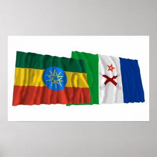 Ethiopia and Afar Waving Flags Print