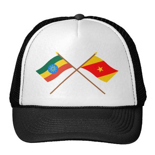 Ethiopia and Amhara Crossed Flags Trucker Hats