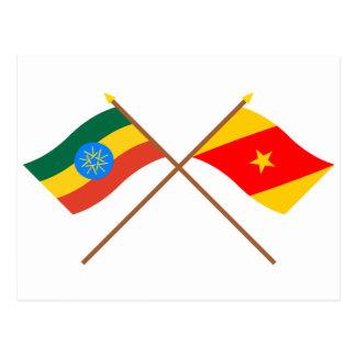 Ethiopia and Amhara Crossed Flags Postcard