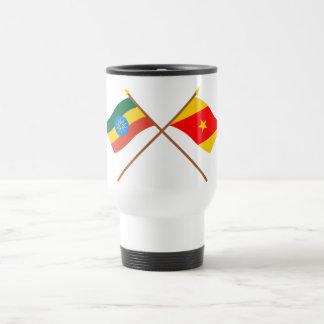 Ethiopia and Amhara Crossed Flags Travel Mug