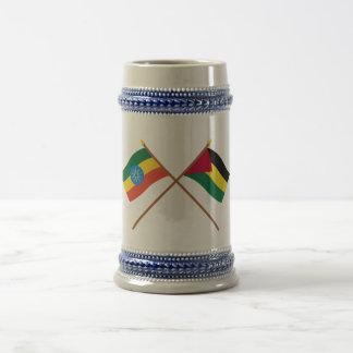 Ethiopia and Benishangul-Gumaz Crossed Flags Beer Stein